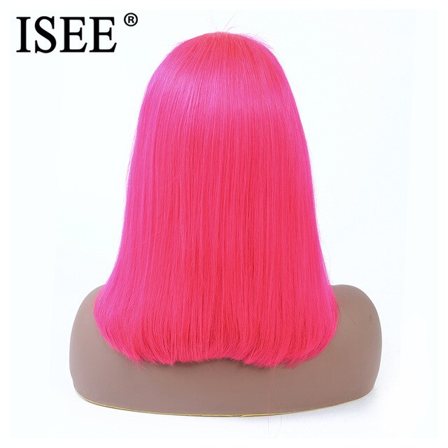 Blue Straight Bob Wig 613 / Pink 13X4 Short Lace Front Human Hair Wigs - JJslove.com