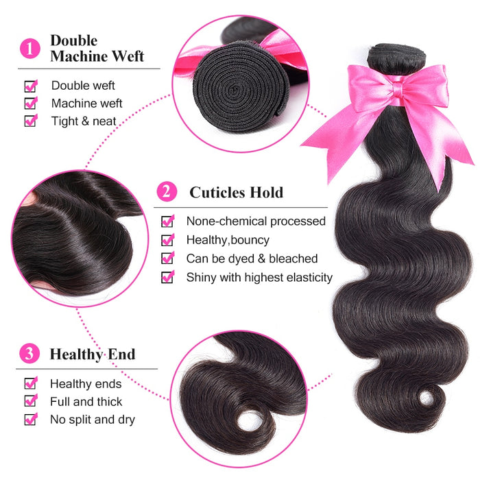 Body Wave Human Hair Bundles With Closure Brazilian Hair Weave Bundles With Closure - JJslove.com