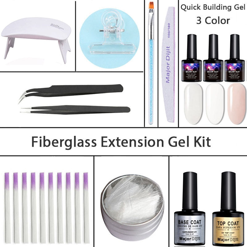 Fibernails Fiberglass For Nail Extension Kit Nail Art Gel Set - JJslove.com