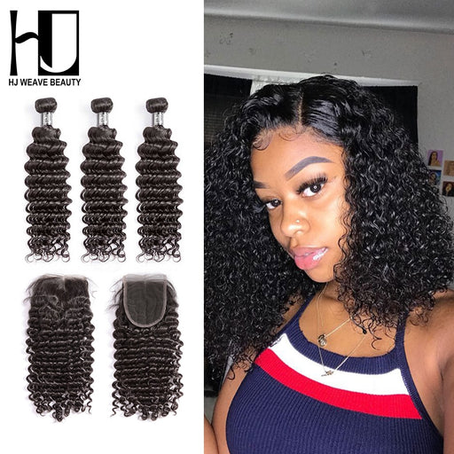 Indian Bundles  Bundles With Closure Deep Wave Hair Wigs - JJslove.com