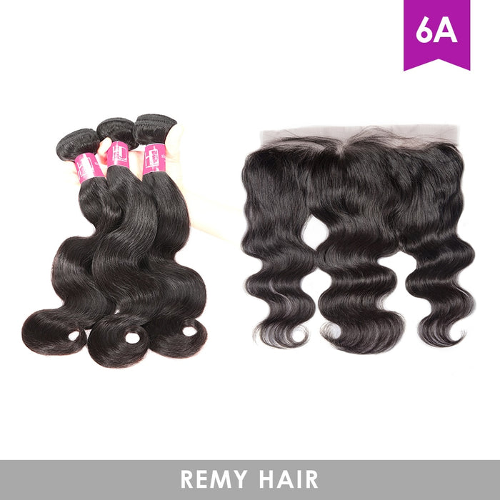 Body Wave Wigs Bundles With Frontal Human Hair Brazilian 6A Remy Hair - JJslove.com