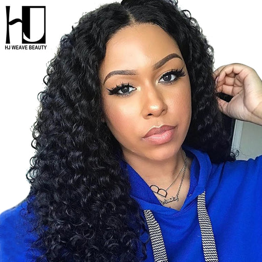 Indian  Black Women Lace Front Wigs Deep Wave Human Hair Wigs - JJslove.com