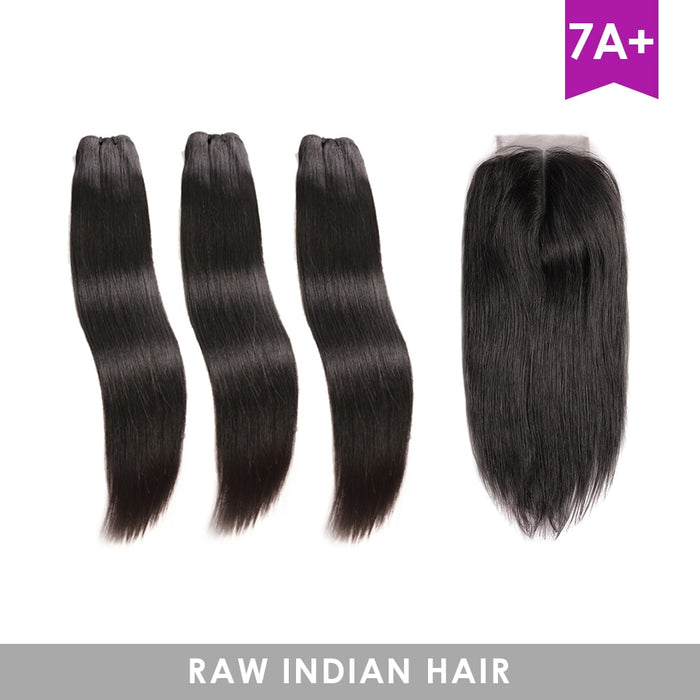 Closure Hair Weave Bundles Raw Indian Virgin Straight Hair Wigs - JJslove.com