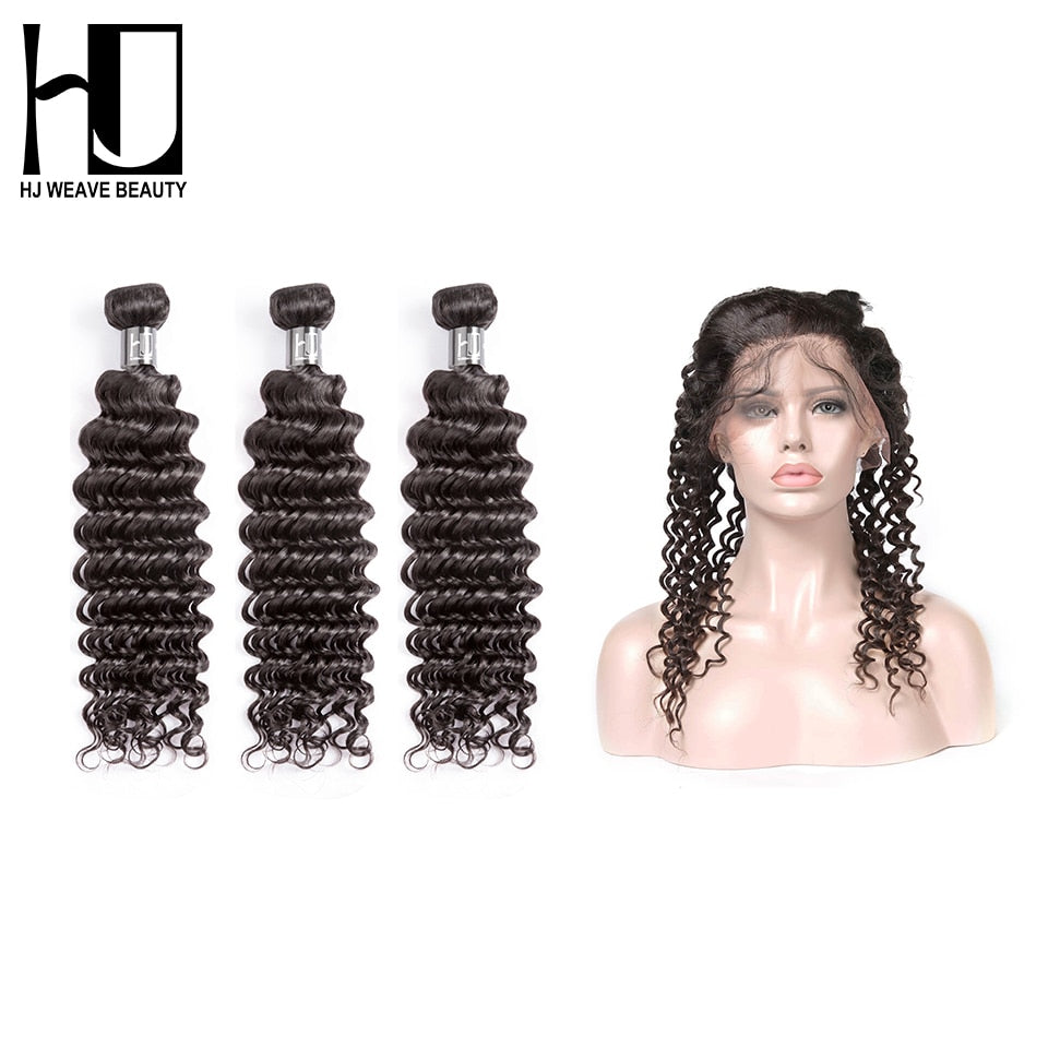 7A Brazilian Hair Weave Bundles 360 Lace Frontal With Bundles Deep Wave  Hair Wigs - JJslove.com
