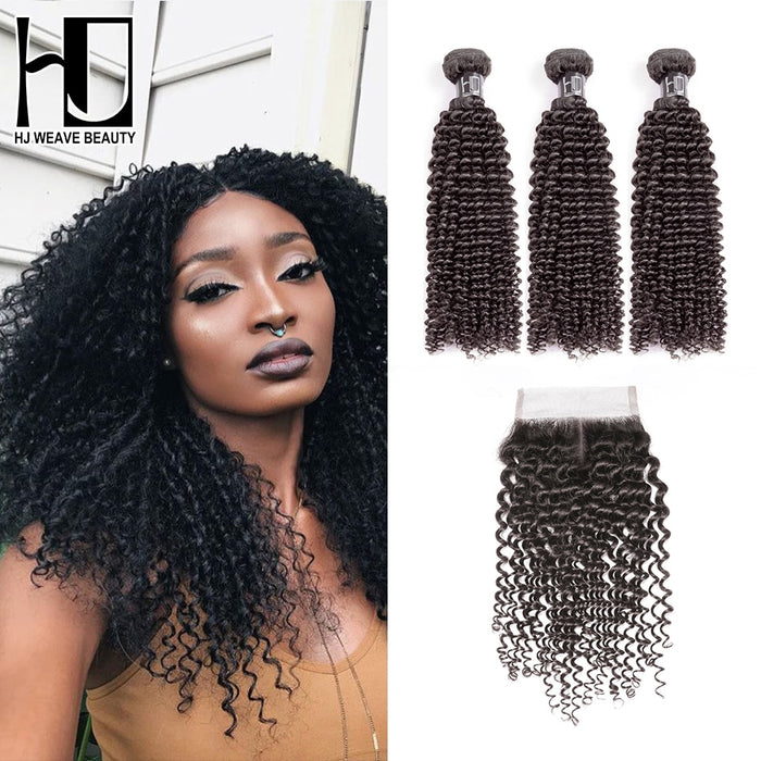 HJ Weave Beauty 7A Human Hair Bundles With Closure Peruvian Kinky Curly Wigs - JJslove.com