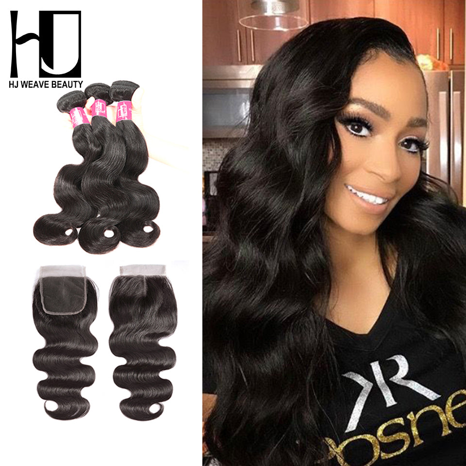 Body Wave  Wigs Bundles With Closure Brazilian Hair 6A Remy Hair Extension - JJslove.com
