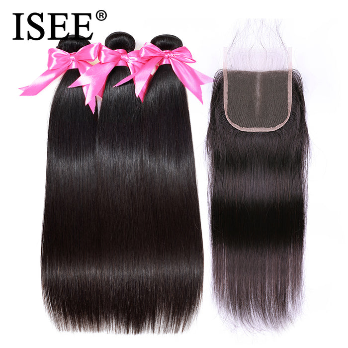 Straight Hair With Closure Remy Human Hair Bundles With Closure - JJslove.com