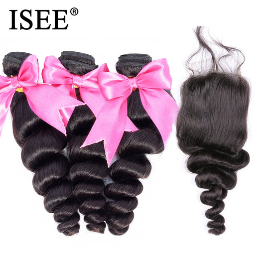 Loose Wave Bundles With Closure Free Part Remy Human Hair Bundles With Closure - JJslove.com