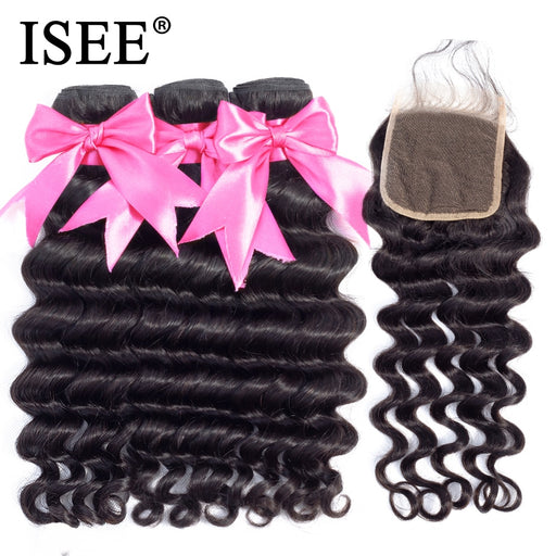 Brazilian Loose Deep Bundles With Closure 100% Remy Human Hair Bundles With Closure - JJslove.com