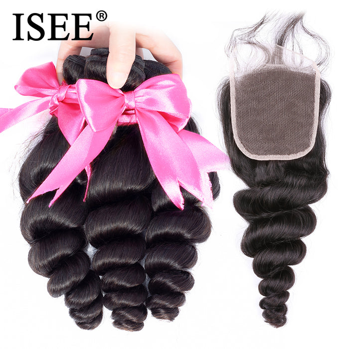 Brazilian Loose Wave Bundles With Closure 100% Remy Human Hair Bundles With Closure - JJslove.com