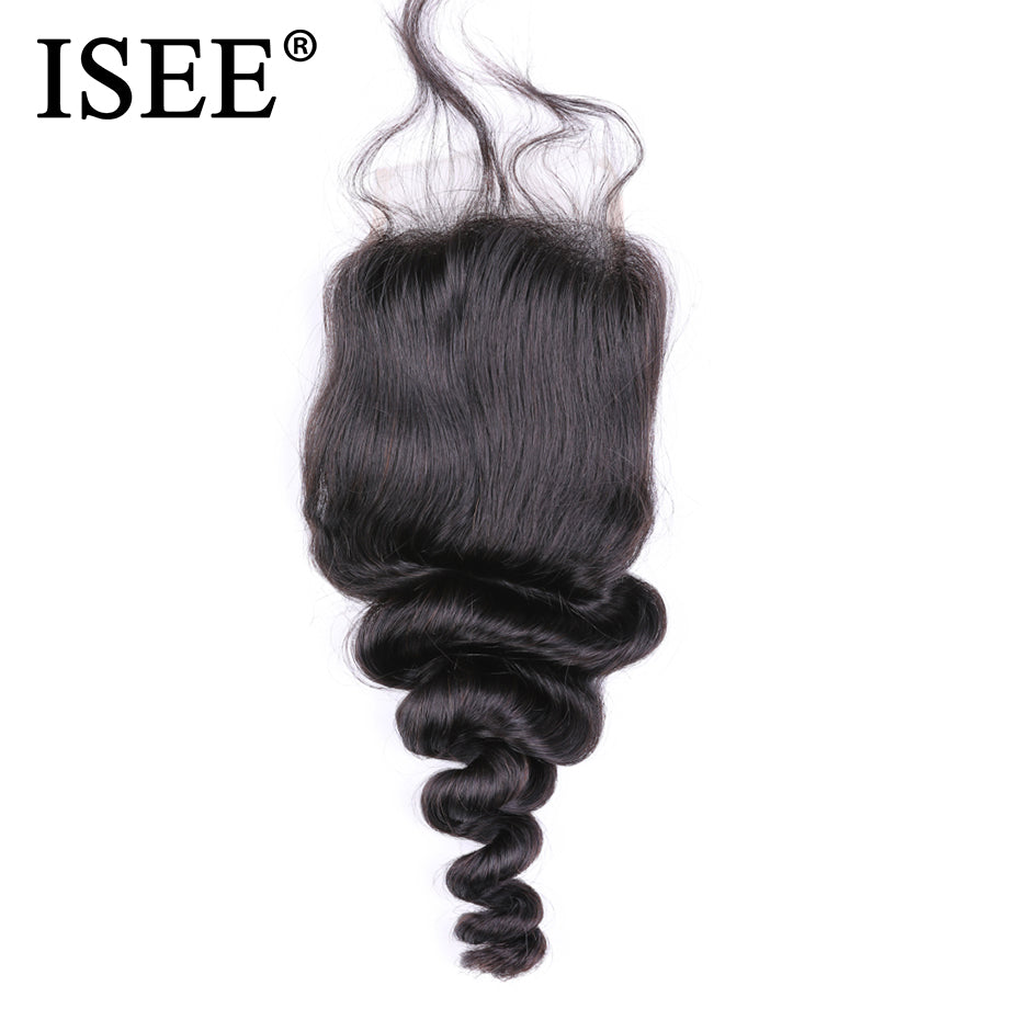 Brazilian Loose Wave Closure 4*4 Swiss Lace Remy Human Hair - JJslove.com