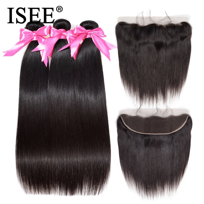 Brazilian Straight Hair Bundles With Frontal 13*4 Lace Frontal With Bundles - JJslove.com