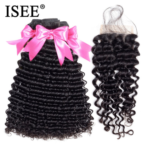 Deep Wave Bundles With Closure Remy Human Hair Bundles With Closure - JJslove.com