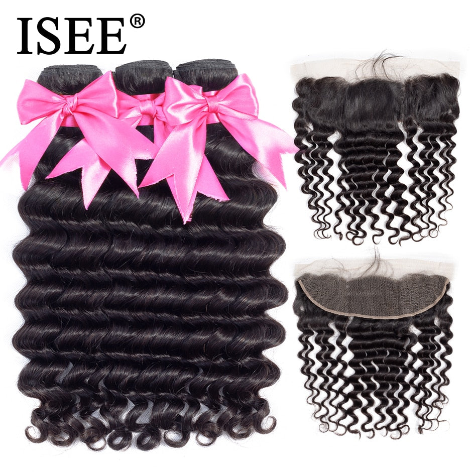 Pre Plucked Lace Frontal Closure Remy Brazilian Loose Deep Bundles With Frontal - JJslove.com