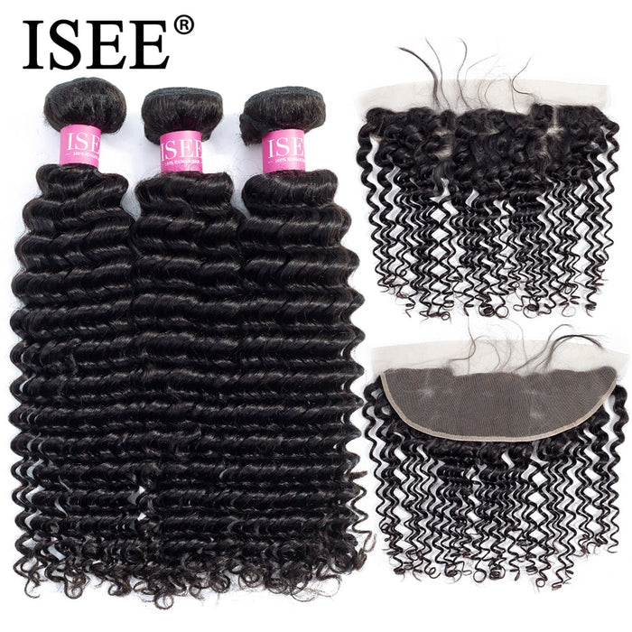 Pre Plucked Lace Frontal Closure Remy Malaysian Deep Wave Bundles With Frontal - JJslove.com