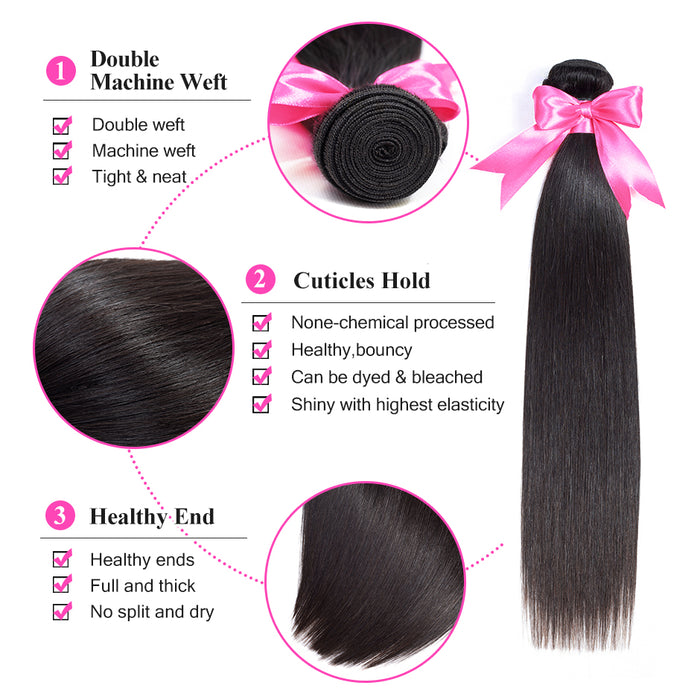 Malaysian Straight Hair Bundles With Closure 100% Human Hair Bundles With Closure - JJslove.com