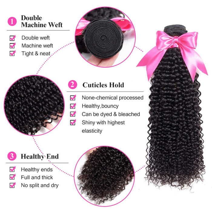 Mongolian Kinky Curly Bundles With Frontal 13*4 Lace Frontal With Bundles - JJslove.com