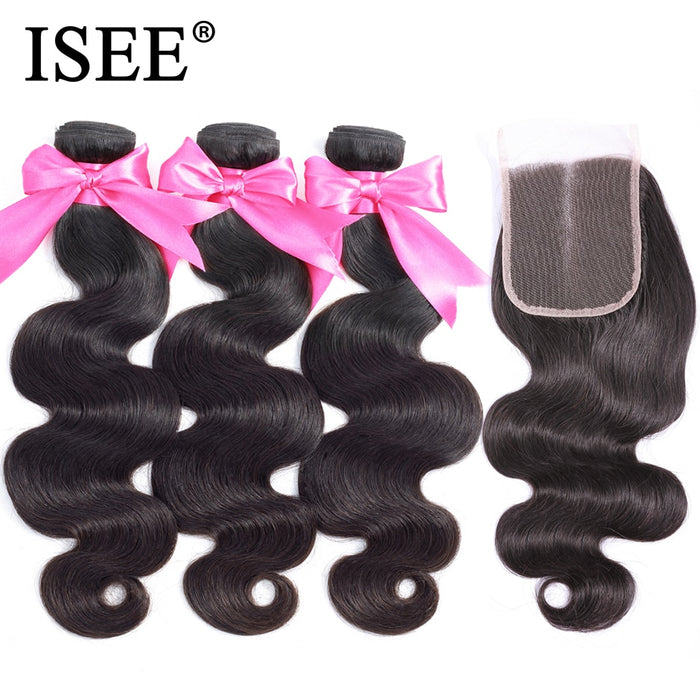 Peruvian Body Wave With Closure 100% Remy Human Hair Bundles With Closure - JJslove.com