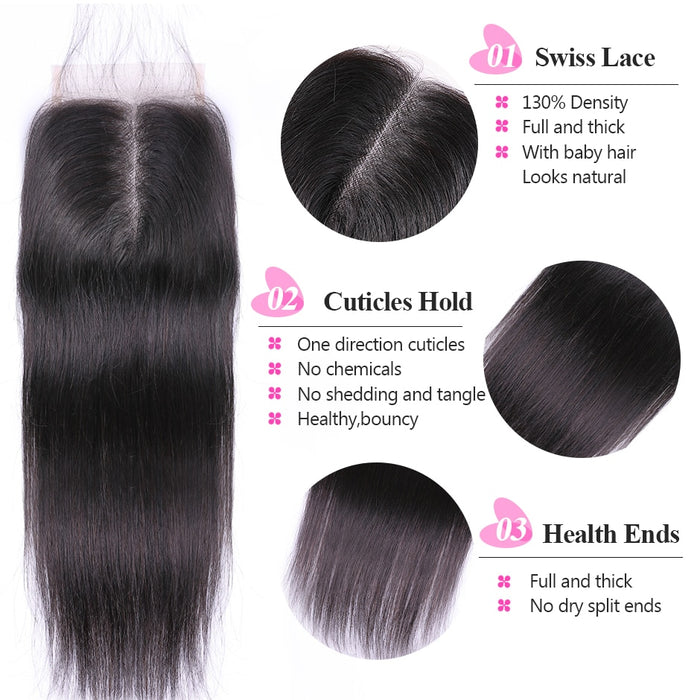 "Peruvian Straight Hair Closure 4""*4"" Middle Part 100% Remy Straight Closure - JJslove.com"