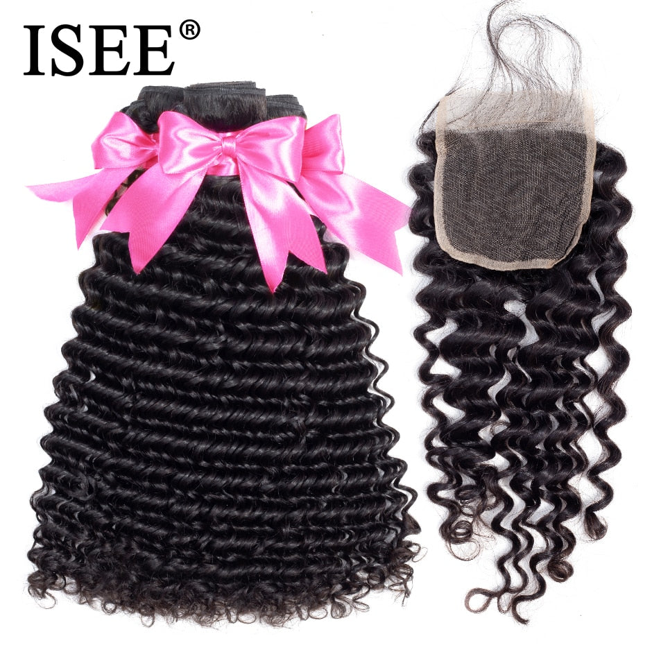 Mongolian Deep Curly Hair Bundles With Closure Human Hair Bundles With Closure - JJslove.com