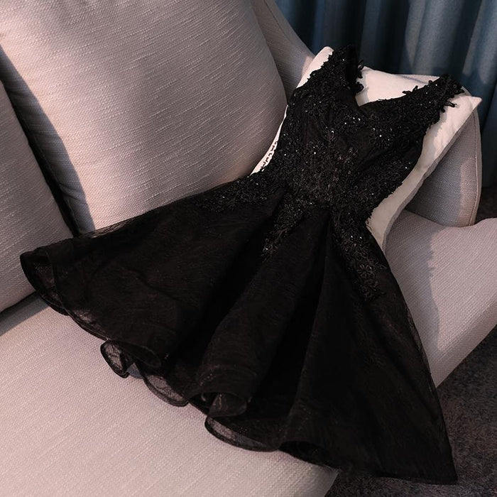 Little Black Dress Lace Cute Homecoming Dress Short Party Dress - JJslove.com