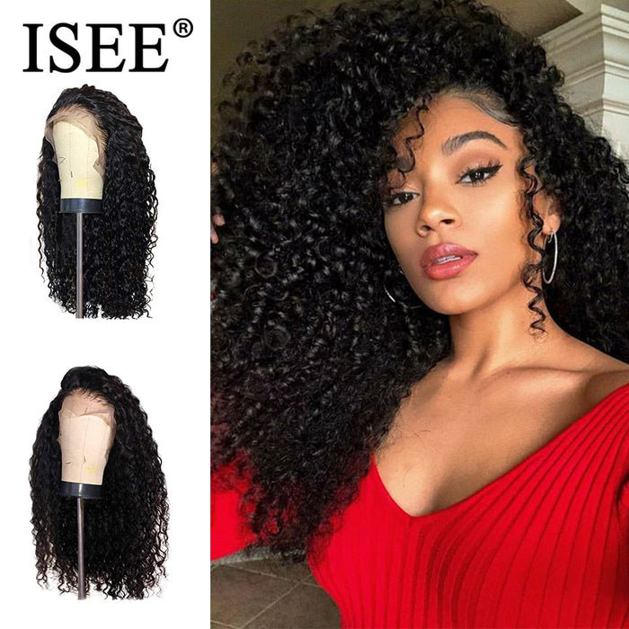 Kinky Curly Lace Frontal Wig Pre Plucked Hairline Brazilian Human Hair Wigs - JJslove.com