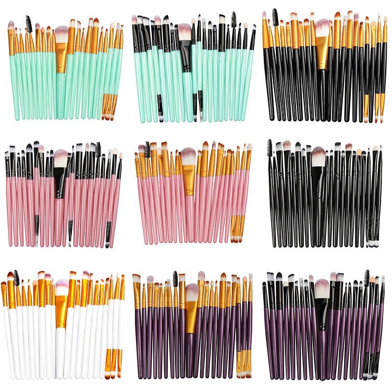 Makeup Brushes Set Eye Shadow Foundation Powder Eyeliner Eyelash (20/5Pcs) - JJslove.com