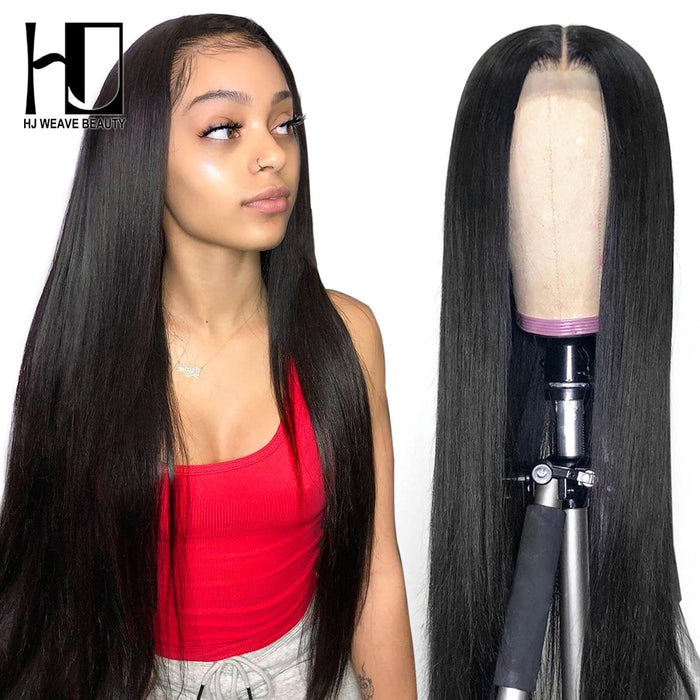 Lace Front Human Hair Wigs Virgin Hair 28inch 30inch Brazilian Straight Glueless Lace Front Wig With Baby Hair HJ Weave Beauty - JJslove.com