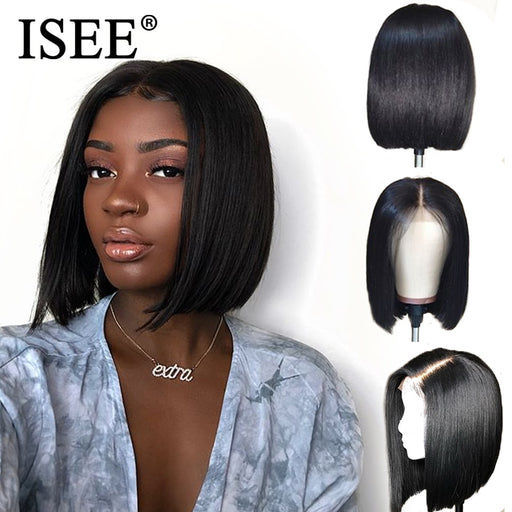 Lace Front Human Hair Wigs With Pre Plucked Hairline Short Bob Wigs - JJslove.com