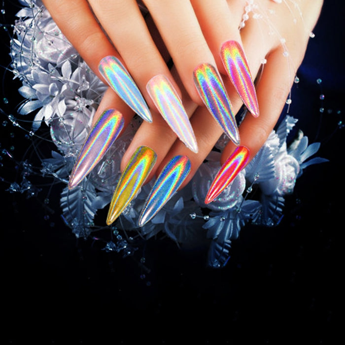 Laser Nail Glitter Peacock Holographic Mirror Powder Laser Dust Nail Art Chrome Pigment Powder DIY Decorations - JJslove.com