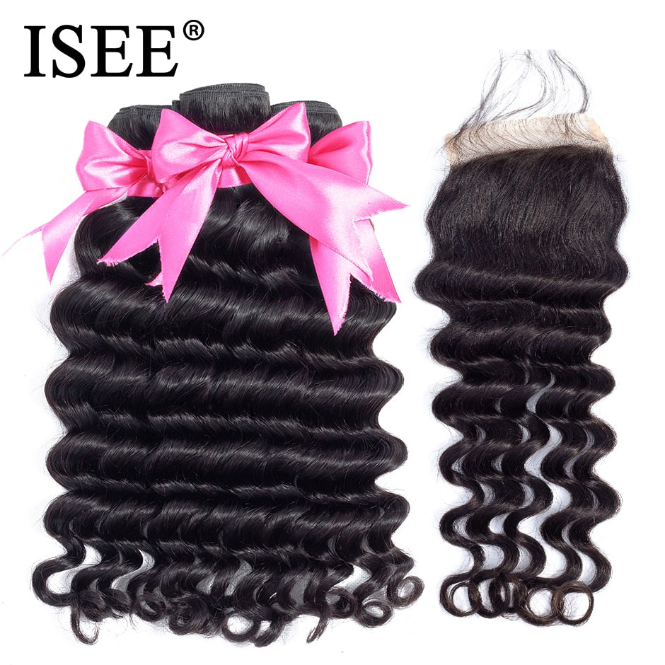 Loose Deep Bundles With Closure 100% Remy Human Hair Bundles With Closure - JJslove.com