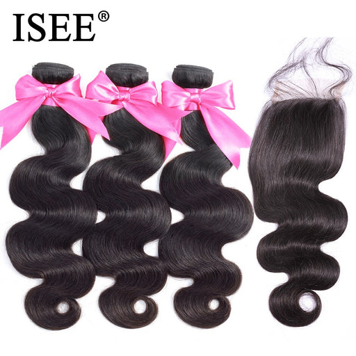 Malaysian Body Wave With Closure 100% Remy Human Hair Bundles With Closure - JJslove.com