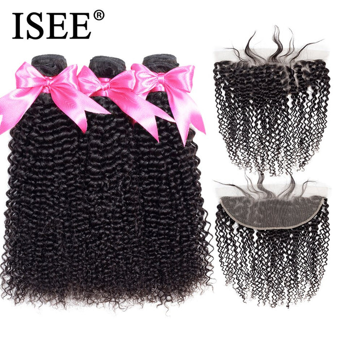 Malaysian Kinky Curly Bundles With Frontal Remy Human Hair Bundles With Frontal - JJslove.com
