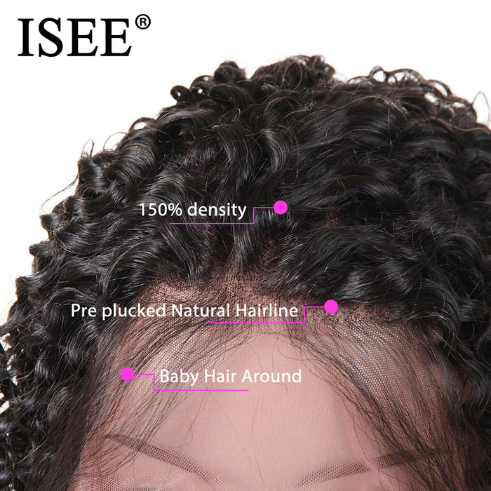Malaysian Kinky Curly Wig Pre Plucked 150% Density Lace Human Hair Wigs - JJslove.com
