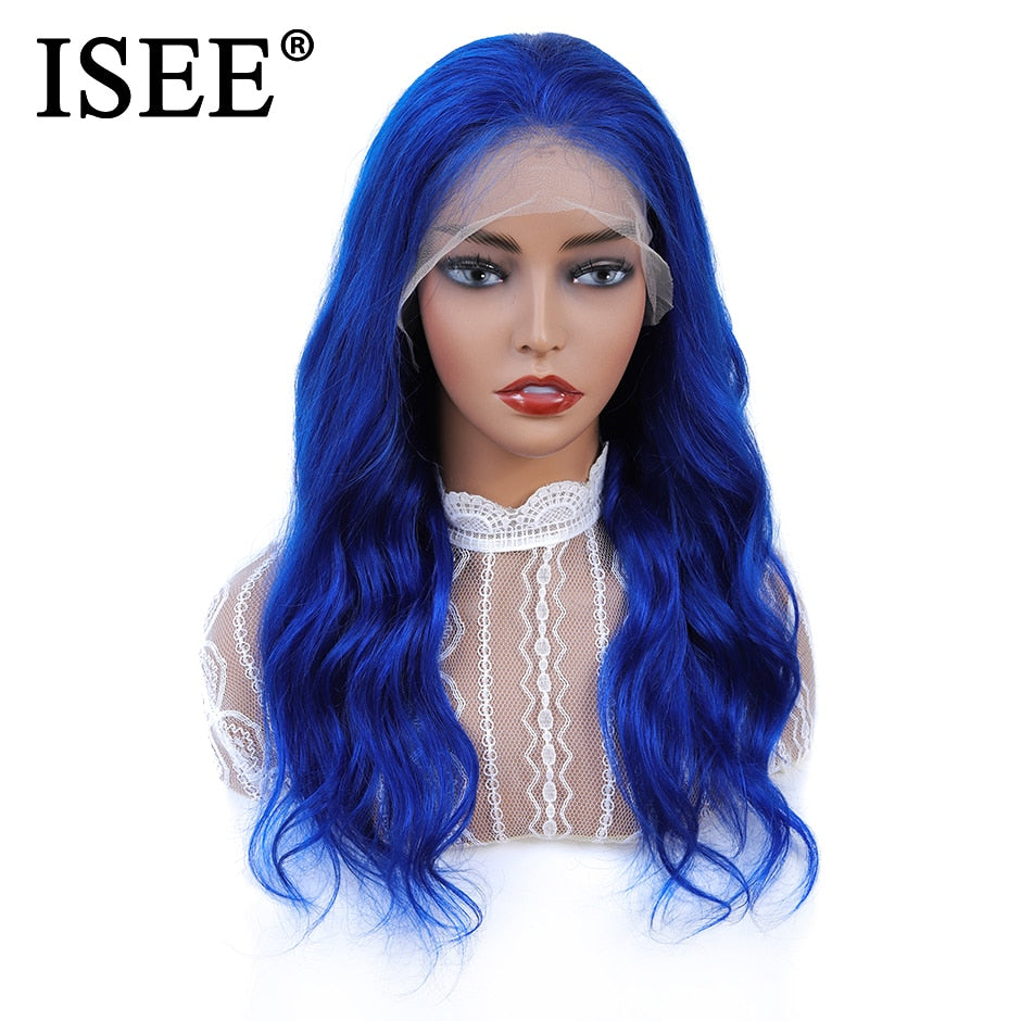Malaysian Remy Blue Body Wave Lace Front Wig With Baby Hair - JJslove.com