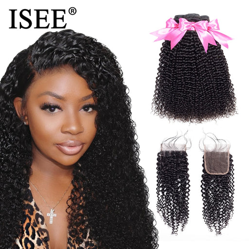 Mongolian Kinky Curly Human Hair Bundles With Closure - JJslove.com