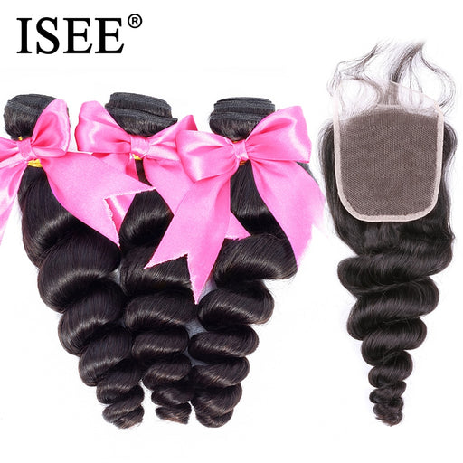 Peruvian Loose Wave Bundles With Closure 100% Remy Human Hair Bundles With Closure - JJslove.com