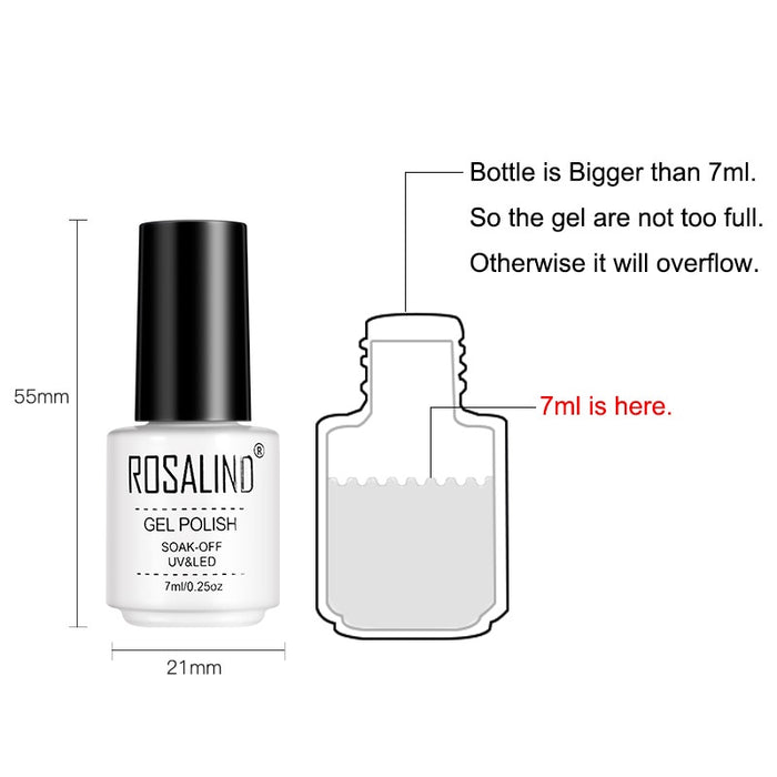 Rosalind 7ML A Set of Top and Base Coat  Gel Nail Polish - JJslove.com