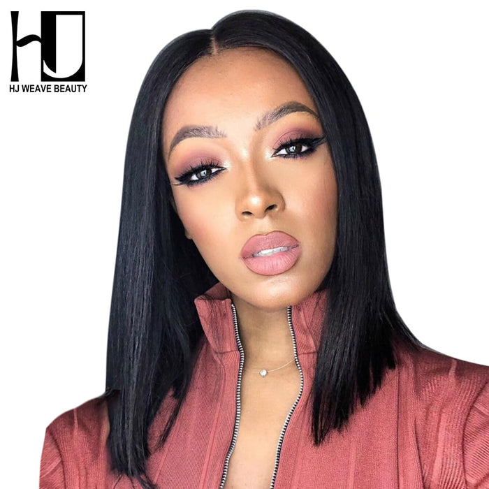 Short  Peruvian Short Bob Wigs with Pre Plucked Hairline Lace Wigs - JJslove.com