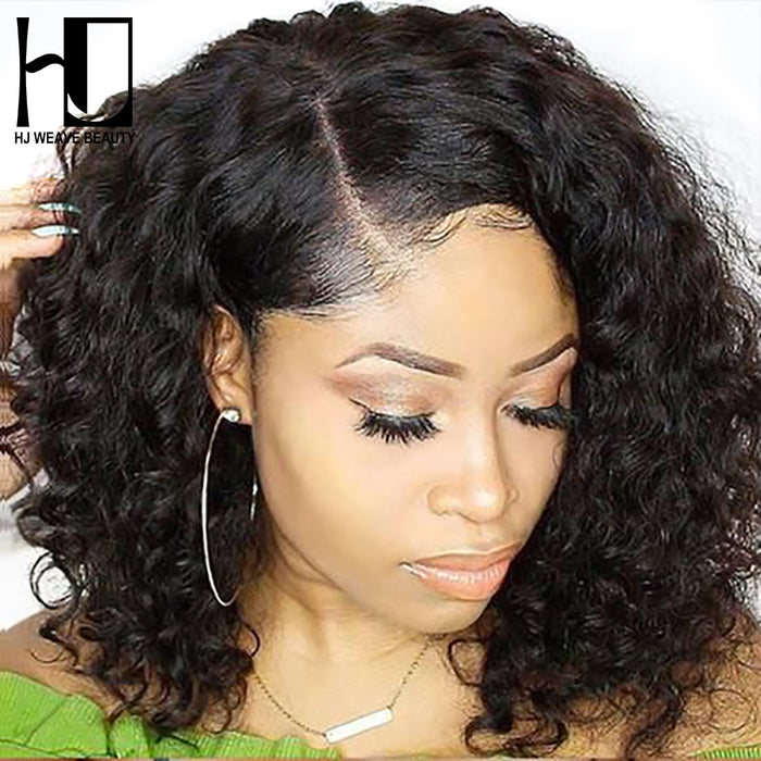 Natural Wave Remy Short Bob Wigs with Pre Plucked Hairline Lace Wigs - JJslove.com