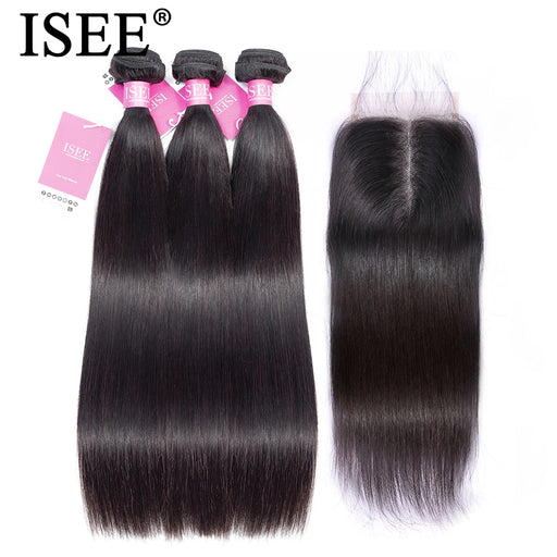 Straight Hair Bundles With Closure Malaysian Human Hair Bundles With Closure - JJslove.com
