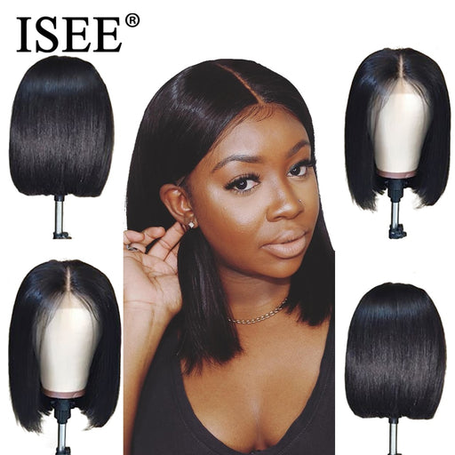 Straight Short Human Hair Wigs 150% Density 13X4 Short Bob Wigs - JJslove.com