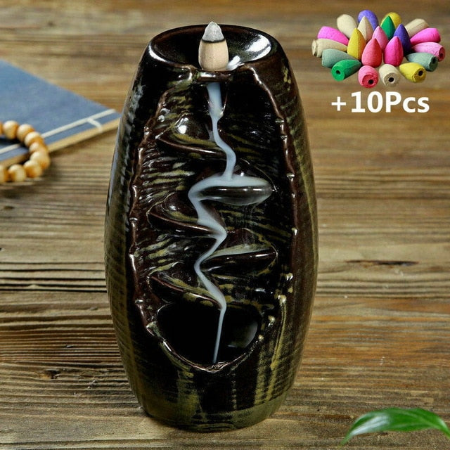 Home Decoration Waterfall Incense Burner Ceramic Incense Holder With 10 Cones - JJslove.com