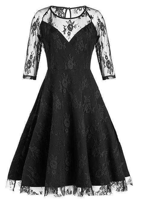JJslove Black Half Sleeves Hollow Women Lace Dress - JJslove.com