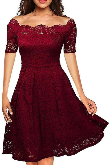 JJslove Boat Neck Cocktail Swing Dress Black Long Sleeve Floral Lace Knee Length Formal Party Dresses - JJslove.com