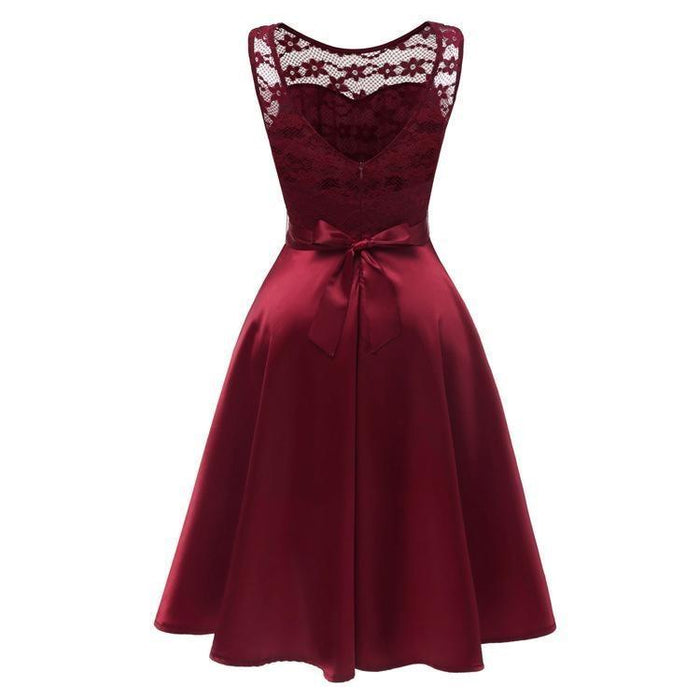 JJslove Burgundy Knee-Length Women's Lace Dress - JJslove.com