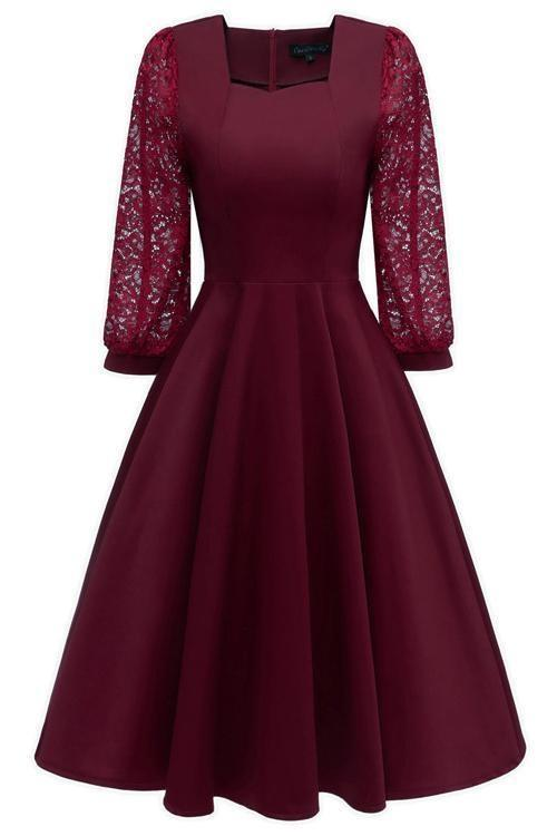 JJslove Burgundy A-line Half Sleeve Lace Dress - JJslove.com