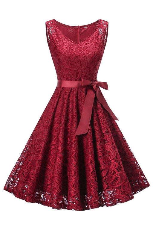 JJslove Street Floral Lace Pleated Dress Women V-Neck Elegant Party Sexy Dresses - JJslove.com