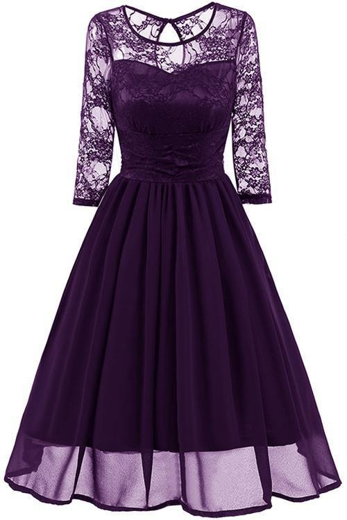 JJslove Elegant Womans Chiffon Lace Dress Brand Ladies Girl Prom Dresses - JJslove.com