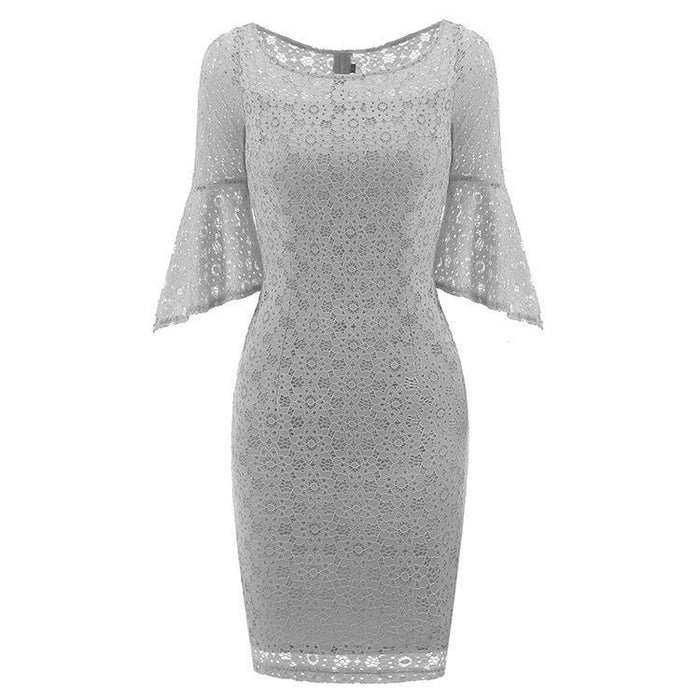 JJslove New Sky Blue Half Sleeve Lace Dress - JJslove.com